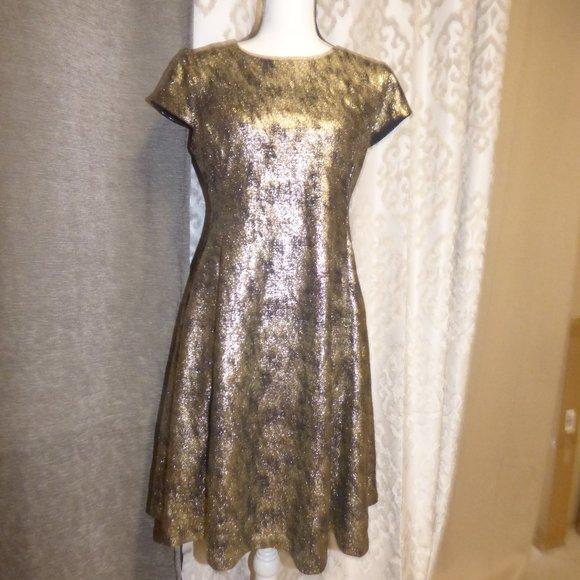 Women/'s NWT $99 Alfani Metallic Fit Flare Dress Deep Black
